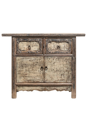 Old wooden cabinet with 2 doors & 2 drawers
