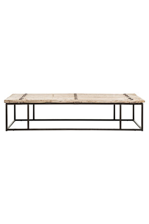 Coffee table elm wood with metal legs - 174cm