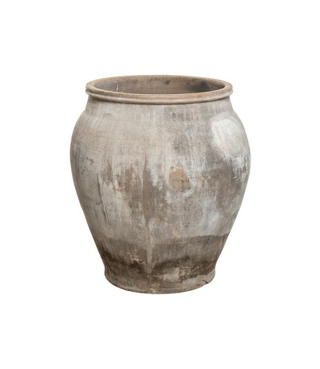 Grijze oude grote vaas
