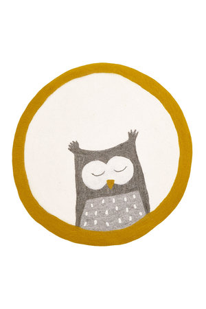 Pasu felt rug Owly - pollen/natural