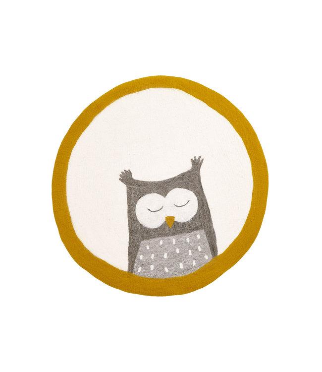Muskhane Pasu felt rug Owly - pollen/natural