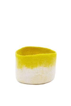 Felt basket bicolor - natural/yellow