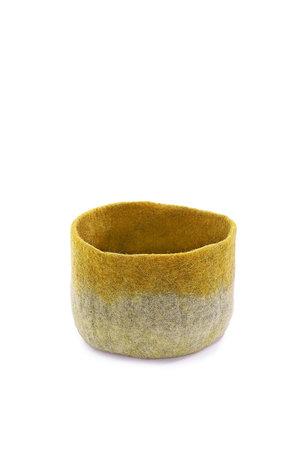 Felt basket bicolor - light grey/yellow