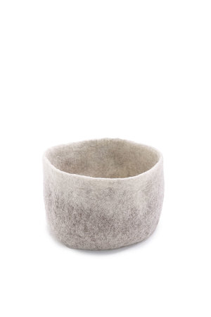 Felt basket - grey/natural