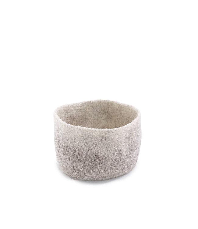 Felt basket - grey/natural