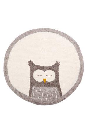 Pasu felt rug Owly - stone grey/natural