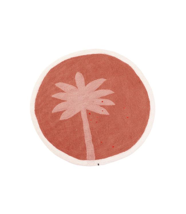 Terai felt rug Palm - coral