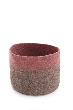 Felt basket bicolor - grey/coral