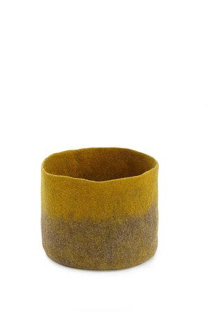 Felt basket bicolor - grey/yellow