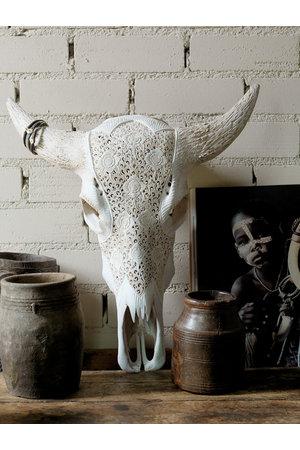 Love Warriors Carved longhorn white