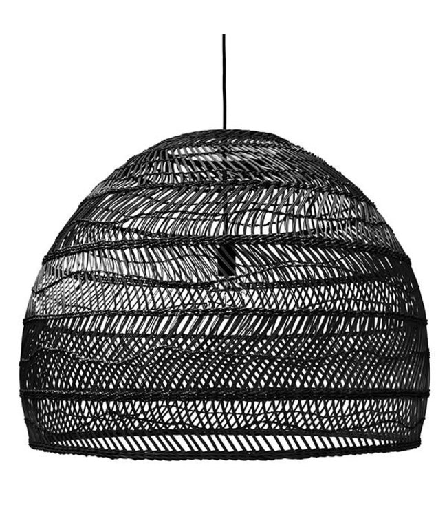 Hand woven wicker hanging lamp ball - black