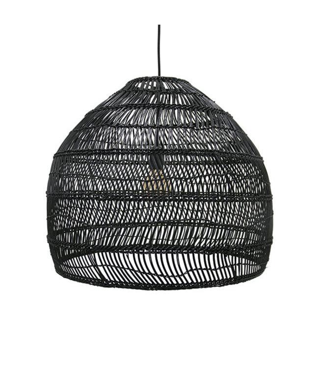 Hand woven wicker hanging lamp ball - black