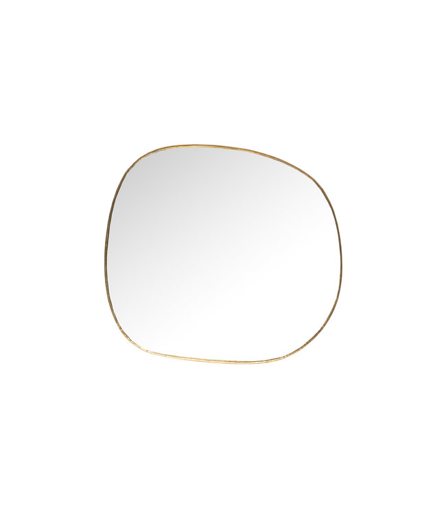 Hand crimped brass mirror 'Ame', small