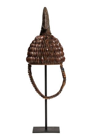 Tribaal hoedje met zaad knopen en calao bek - Lega, D.R. Congo