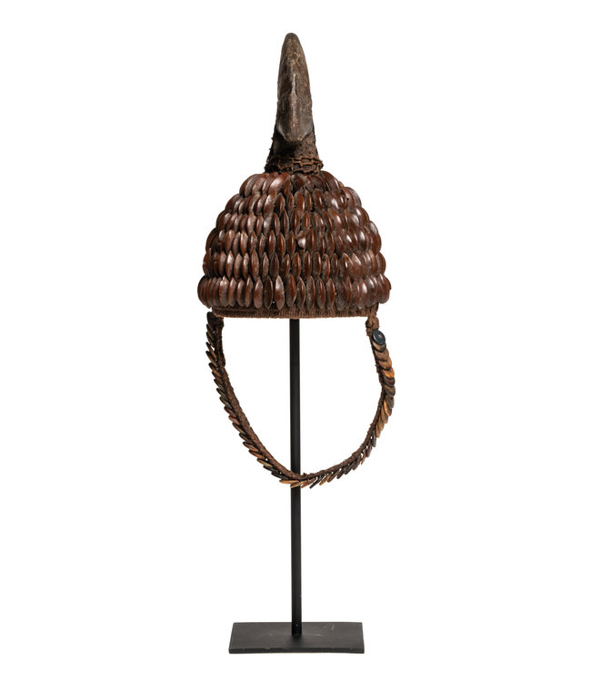Tribal hat with seeds buttons & hornbill - Lega , D.R. Congo