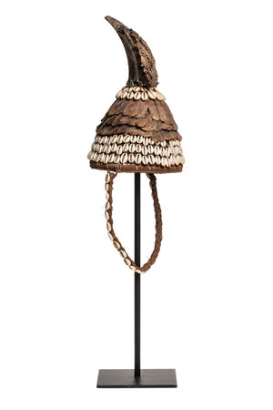 Tribaal hoedje met schelpen en calao bek - Lega, D.R. Congo