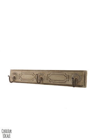 Couleur Locale Old wooden coat rack 3 hooks