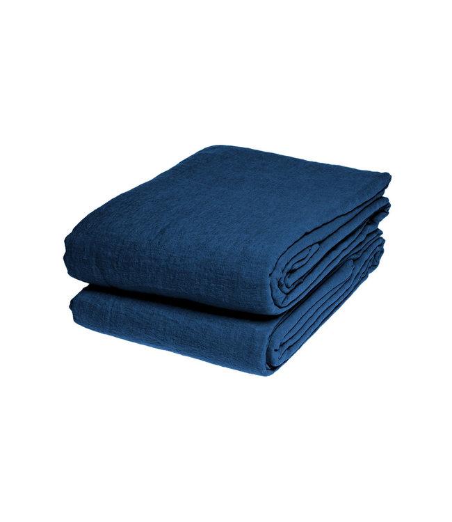 Flat sheet linen - atlantic blue