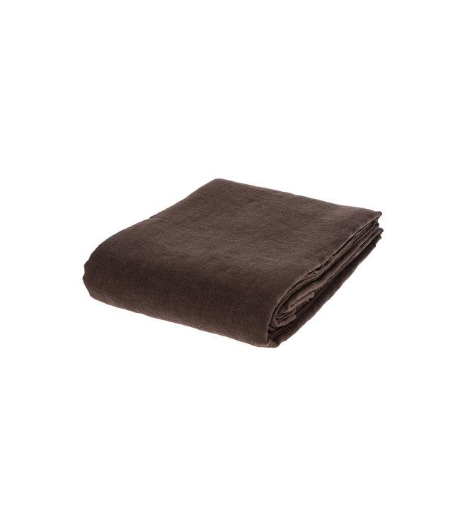 Flat sheet linen - dark brown