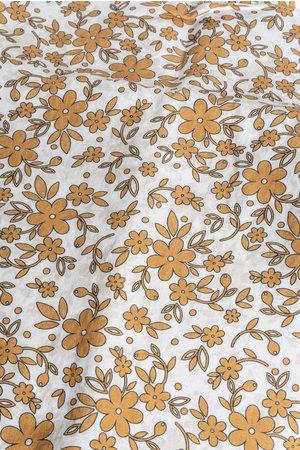 Linge Particulier Pillow case linen -  mustard flower