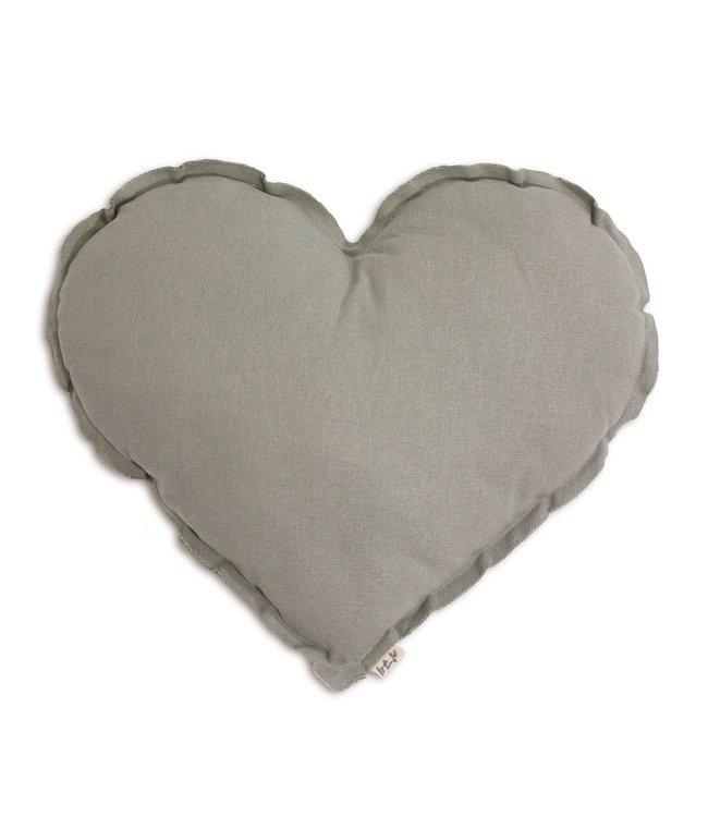 Hart kussen - silver grey