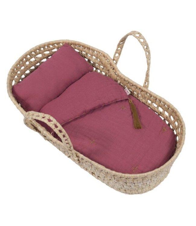 Bed linen for doll basket - baobab rose