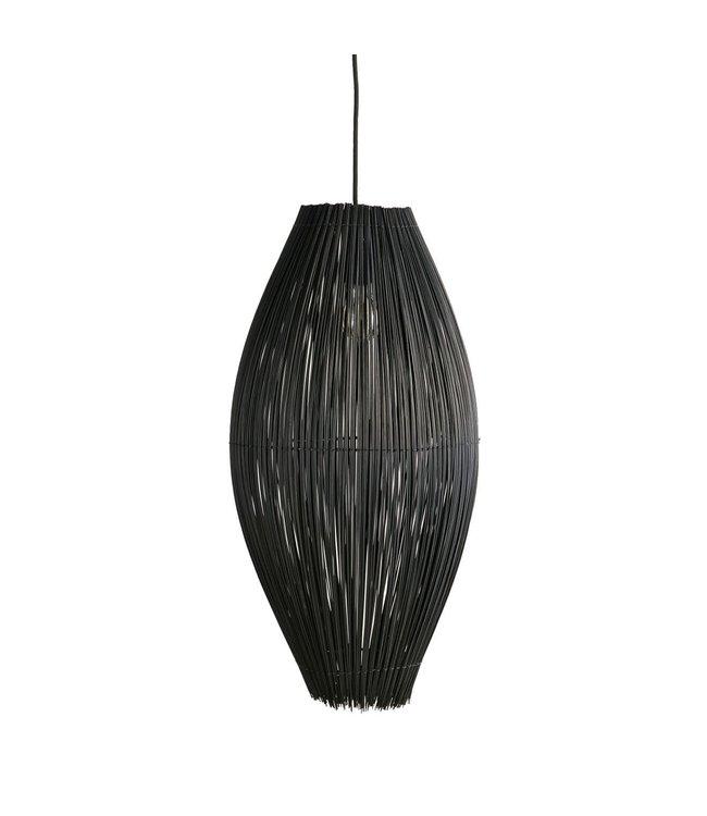 Bamboe visfuik hanglamp - zwart