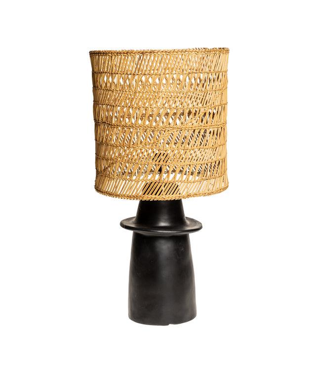 Zwarte tafellamp n°1 gevlochten riet