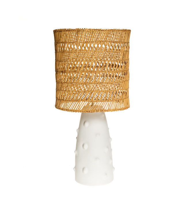 White table light n°2 woven reed