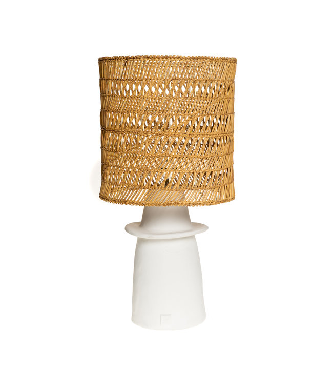White table lamp n°1 woven reed.