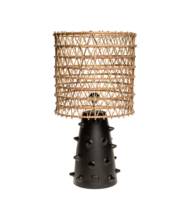 Zwarte tafellamp n°2 dadelpalm
