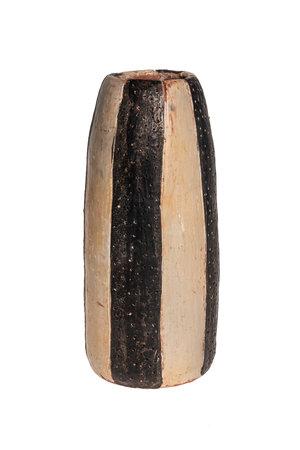 Vase 'rayé' terracotta -natural/black L