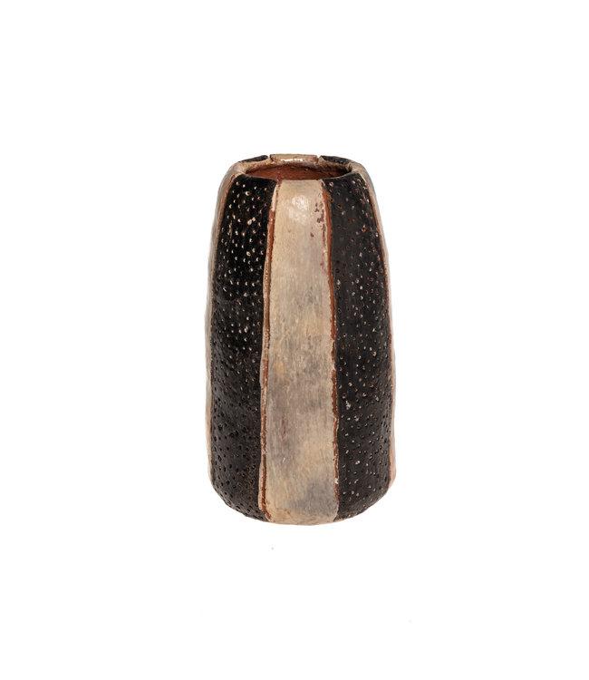 Vase  'rayé' terracotta - natural/black S