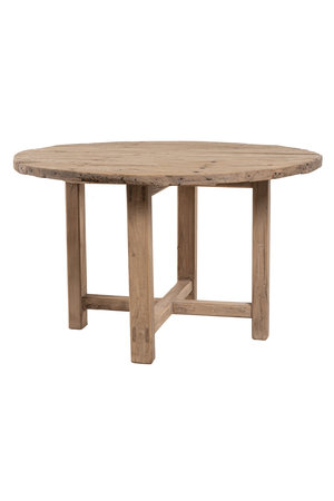 Round table in elm wood with wooden support #1