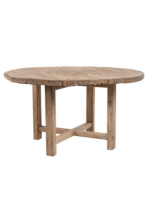 Round table in elm wood with wooden support #2