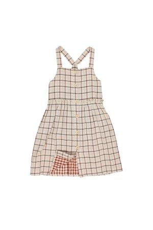 Buho Zoe double check buttoned dress - check ecru