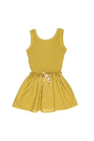 Buho Sara rib & crepe dress - ocre