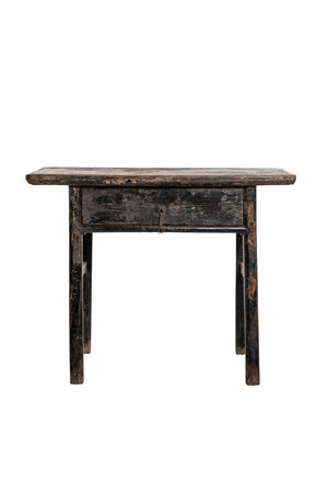 Sidetable with drawer patinated elm wood - 107cm