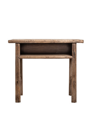 Sidetable with open drawer elm wood 99cm