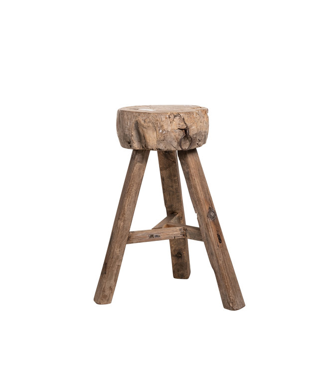 Elm wood antique stool round #7