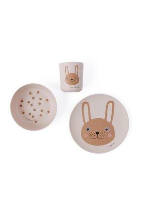 OYOY MINI Rabbit bamboo tableware set
