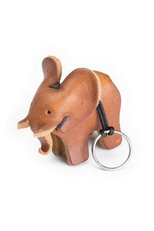 Leren olifant sleutelhanger - large bruin