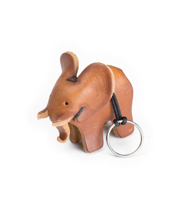 Leather key ring elephant-  brown