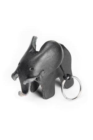 Leather key ring elephant- large black