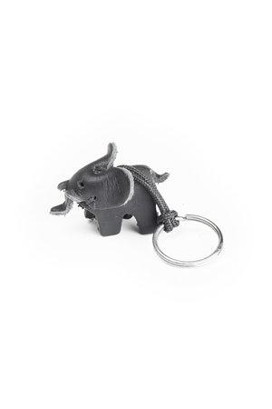 Leather key ring elephant, small - black