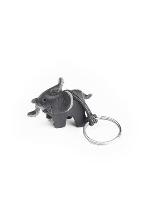 Leren olifant sleutelhanger - small zwart