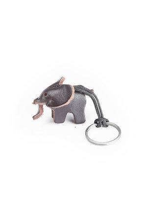 Leather key ring elephant, small - dark brown