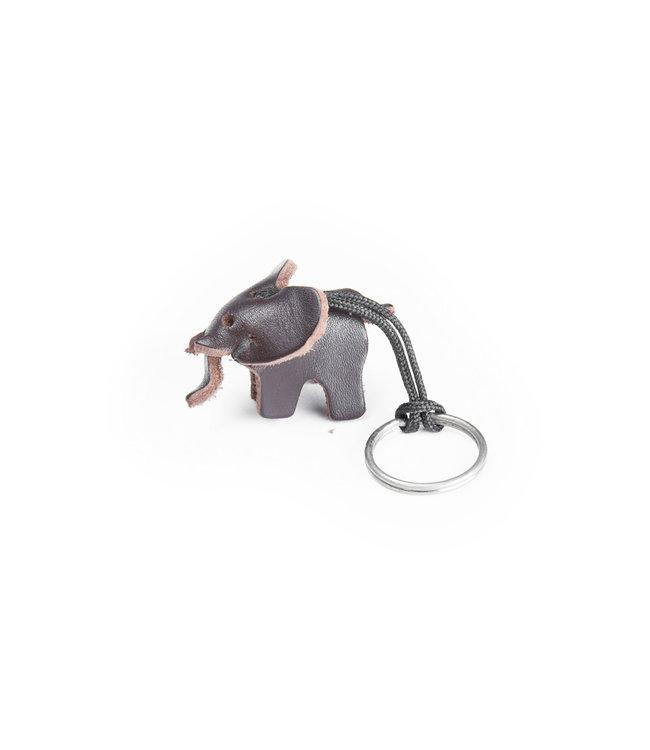 Leren sleutelhanger olifant, small - donkerbruin