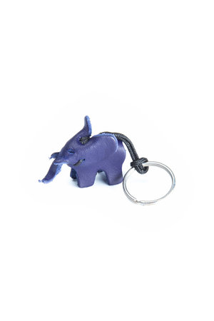 Leather key ring elephant- small blue