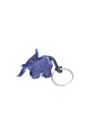 Leather key ring elephant,small - blue